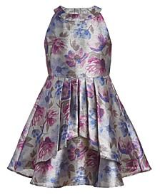 Big Girls Plus Floral Shine High-Neck Dress