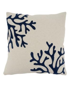 """Saro Lifestyle Pillows CORAL DESIGN THROW PILLOW, 18"""" X 18"""""""