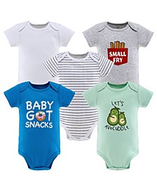Baby Boys and Girls Short Sleeve Bodysuits, 5 Pack