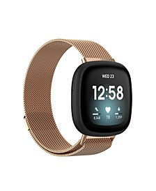 Men's and Women's Gold-Tone Metal Loop Band for Fitbit Sense Versa 3 38mm