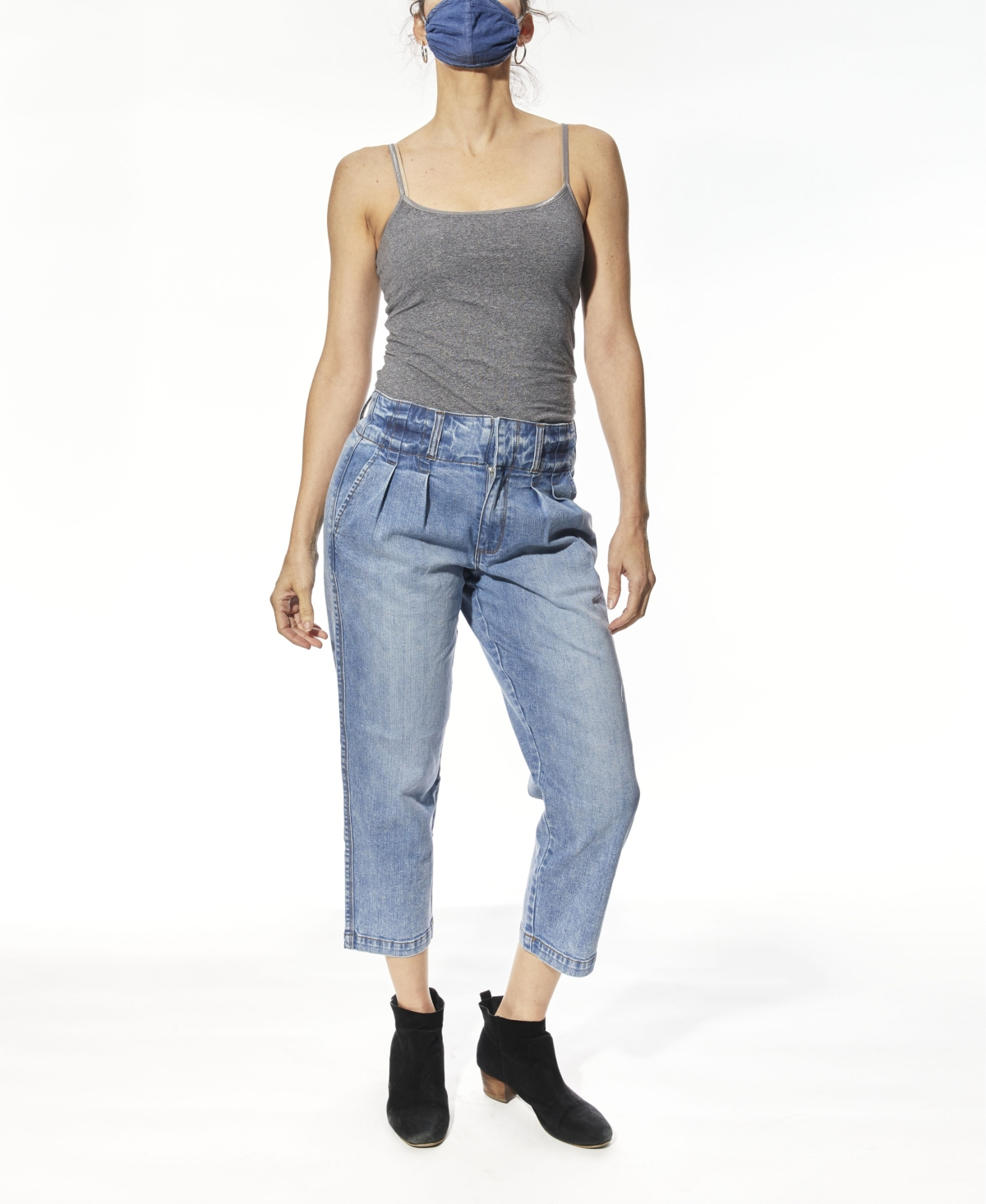 Women's High Rise Front Pleat Jeans
