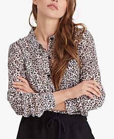 Monday to Sunday Leopard Print Button Front Top