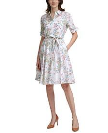 Floral-Print Tie-Waist Cotton Dress