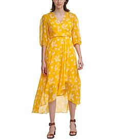 Chiffon Balloon-Sleeve Maxi Dress