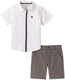 Toddler Boys 2-Piece Short Sleeve Cotton Poplin Shirt and Plaid Shorts Set