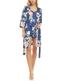 Floral by Flora Nikrooz Phoebe Wrap Robe, Cami & Tap Shorts Travel Pajama Set