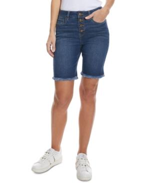 Juniors' Destructed Bermuda Jean Shorts