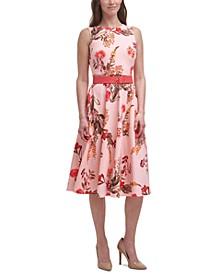 Printed Scuba-Crepe Midi Dress