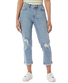 Juniors' Destructed High-Waist Mom Jeans