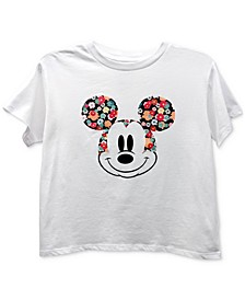 Juniors' Mickey Floral Ears T-Shirt