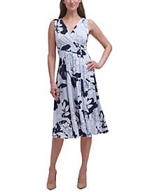 Floral-Print Fit & Flare Midi Dress