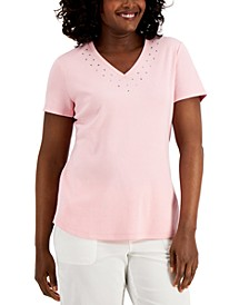 Petite Cotton Studded T-Shirt, Created for Macy's