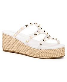 Women's Silver Sands Studded Wedge Slide Sandals