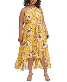 Plus Size Floral-Print Halter Dress