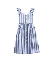 Big Girls Stripe Button Front Midi Dress
