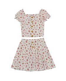 Toddler Girls Printed Eyelet Skirt Set, 2 Piece