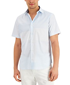 Men's Classic-Fit Stretch Stripe Patchwork-Print Poplin Shirt, Created for Macy's