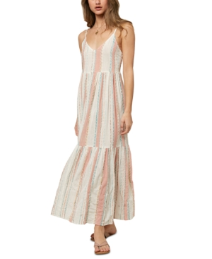 O'neill Juniors' Brigette Striped Cotton Cover-up Dress Women's Swimsuit In Multi Colored