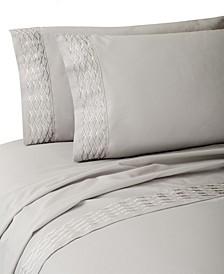 Diamond Lattice Embroidery Cotton 4 Piece Sheet Set