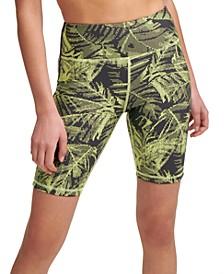 Sport Palm-Print High-Waist Bike Shorts