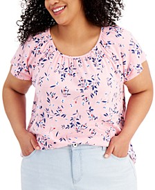 Plus Size Printed Pleat-Neck Top, Created for Macy's
