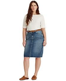 Plus Size Classic Five-Pocket Denim Skirt