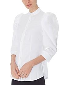 Seersucker Shirred Puff-Sleeve Blouse