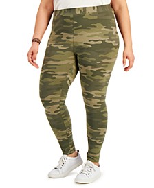 Plus Size Camo-Print Leggings, Created for Macy's