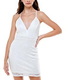 Juniors' Glitter-Lace Bodycon Dress