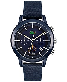 Men's Chronograph Solar 12.12 Blue Cotton Strap Watch 44mm