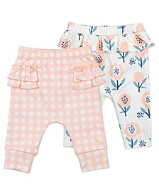 Baby Girl Pant with Bunny Floral and Gingham Print, 2 Pack