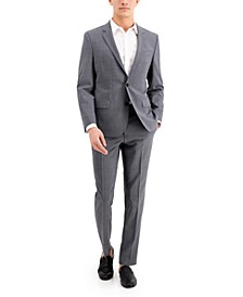 HUGO Men's Medium Grey Slim-Fit Wool Suit Separates