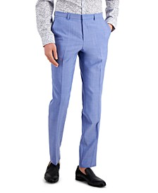 Men's Chambray Blue Solid Modern-Fit Wool Suit Separate Pants