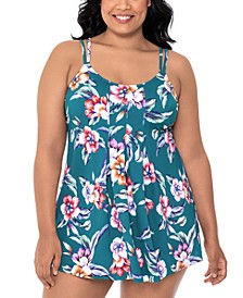 Plus Size Floral-Print Inverted Pleat-Front Tummy-Control Swimdress, Created for Macy's