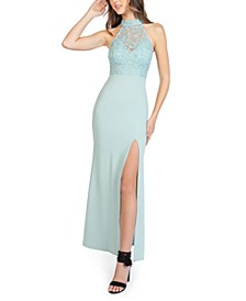 Juniors' Glitter Lace-Top Halter Gown