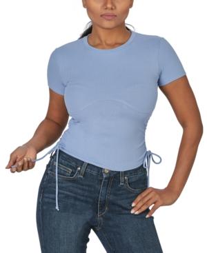 Juniors' Ruched-Side Rib-Knit T-Shirt