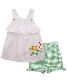 Baby Girls 2-Pc. Cat Top & Seersucker Shorts Set