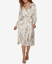 Tie-Waist Floral Wrap Midi Dress