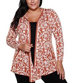 Copper Label Plus Size Women's Floral Jacquard Open Hooded Cardigan