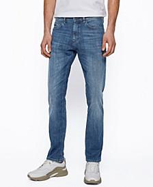 BOSS Men's Mid-Blue Slim-Fit Jeans