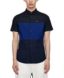 Men's Black and Blue Color-Block Button-Up Shirt