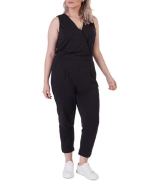 Plus Size Banded Wrap Jumpsuit