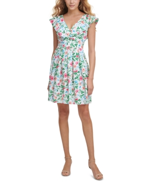 Ruffle-Detail Jersey A-Line Dress
