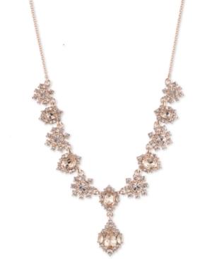 Rose Gold-Tone Crystal Cluster Flower Lariat Necklace