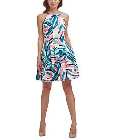 Printed Halter Fit & Flare Dress