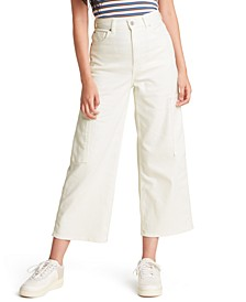 Cropped Wide-Leg Utility Jeans
