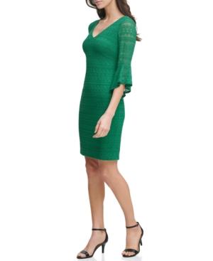 Geo-Lace Bell-Sleeve Sheath Dress