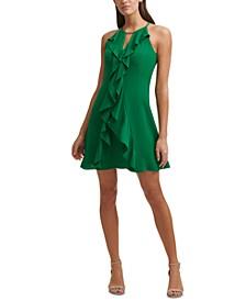 Halter-Neck Ruffle Dress