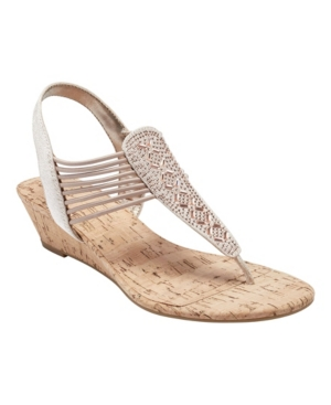 Bandolino Women's Gabe Beaded Thong Sandals Women's Shoes In Medium Pink