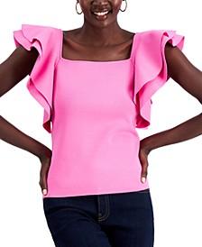 INC Petite Ruffle-Sleeve Top, Created for Macy's